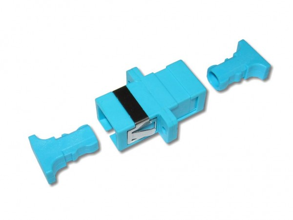 SC-SC simplex LWL Kupplung multimode OM3 aqua