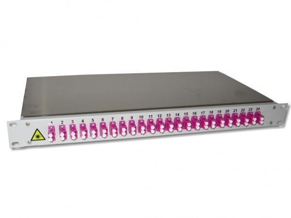 """19"""" LWL Spleißbox 1HE mit 24 LC duplex multimode Kupplungen erikaviolett OM4 bestückt"""