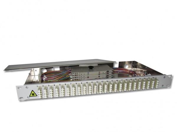 """19"""" LWL Spleißbox 1HE 24x LC quad 50/125µm OM2 komplett spleißfertig mit Kupplungen und Pigtails bestückt"""