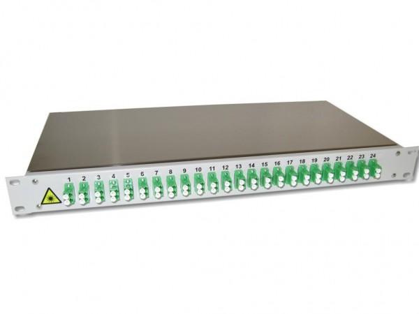 "19"" LWL Spleißbox 1HE mit 24 LC/APC duplex singlemode Kupplungen grün bestückt"