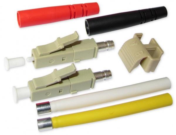 LC duplex Stecker multimode beige für 2mm Kabel mit rot/schwarzem Knickschutz