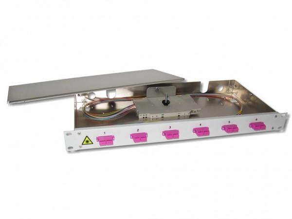 """19"""" LWL Spleißbox 1HE 6xSC-duplex 50/125µm OM4 komplett spleißfertig mit Kupplungen und Pigtails bestückt"""