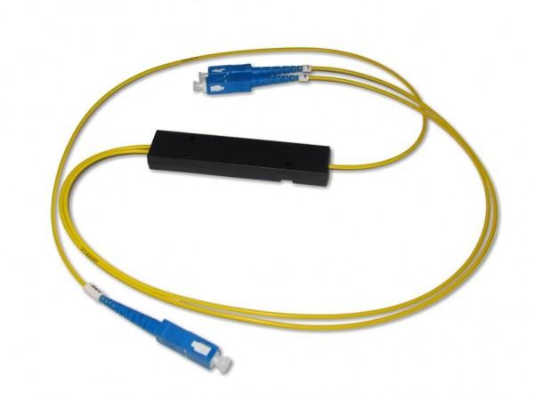 PLC Splitter 1x2 9/125µm G657A1 beidseitig 0,5m 2.0mm Kabel mit SC/PC Stecker