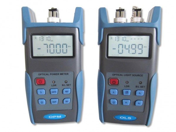 LWL Dämpfungs Messgeräte Set - optisches LWL Powermeter mit Speicher + Lightsource MM/SM