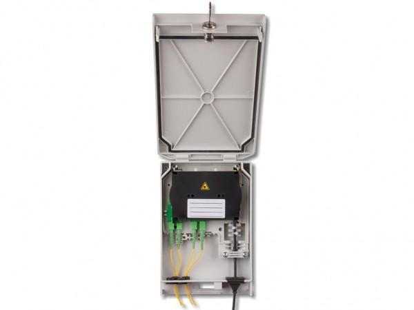 LWL FTTH Wandverteiler IP54 bis 8 Stecker oder 12 Fasern