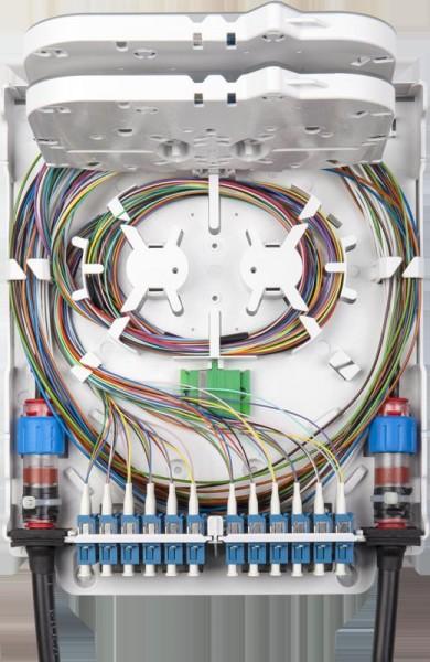 LWL FTTH Wandverteiler IP20 für 48 Spleiße und 12x SC duplex / LC quad oder 12x SC simplex / LC duplex