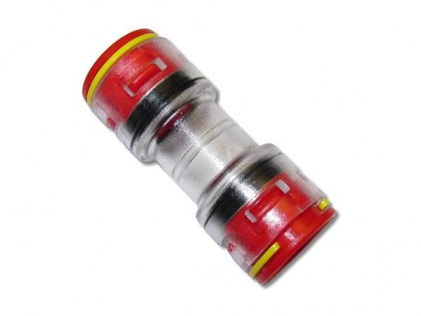 14mm Mikrorohrverbinder Doppelsteckmuffe innen 10mm mit Clips