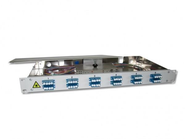 """19"""" LWL Spleißbox 1HE 12x LC-quad 9/125µm OS2 komplett spleißfertig mit Kupplungen und Pigtails bestückt"""