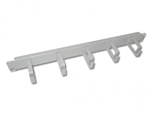 """19"""" Kabelführungspanel grau RAL7035 1HE, 5 Metallbügel"""