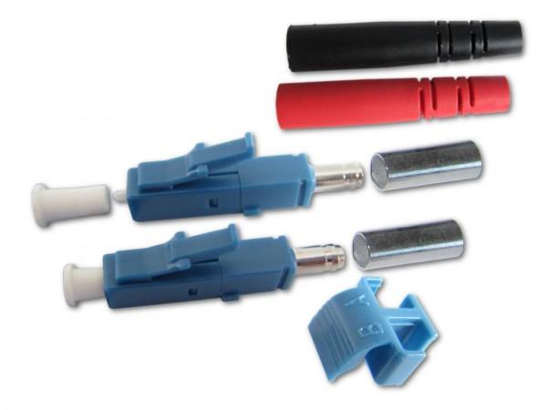 LC duplex Stecker singlemode blau für 3mm Kabel mit rot/schwarzem Knickschutz