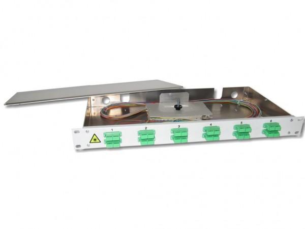 """19"""" LWL Spleißbox 1HE 12xSC/APC-duplex 9/125µm OS2 komplett spleißfertig mit Kupplungen und Pigtails bestückt"""