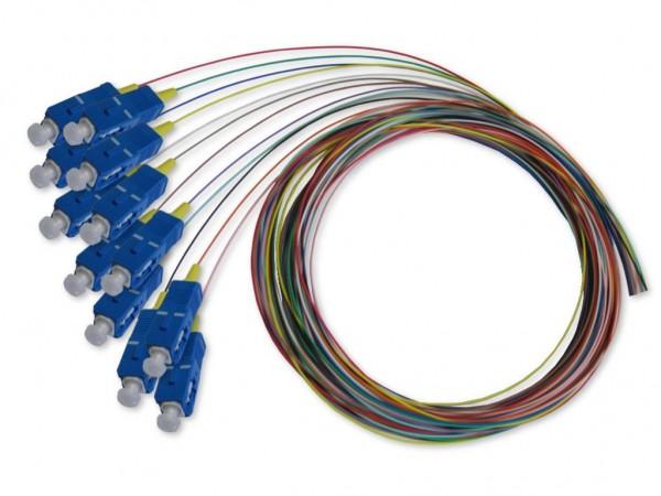 SC Pigtail singlemode 9/125µm OS2, 2m, 12 farbig