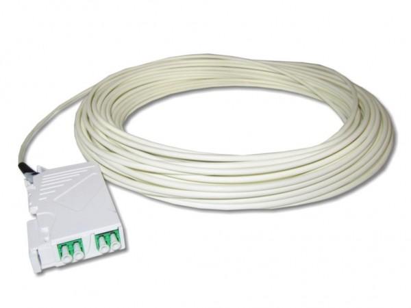 LWL Dose für Hutschiene 2 x LC APC duplex bestückt mit FTTH Dropkabel