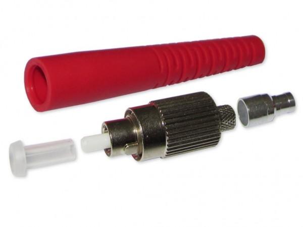 FC/PC simplex LWL Stecker multimode für 3mm Kabel mit rotem Knickschutz