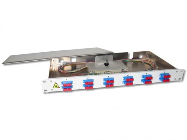 """19"""" LWL Spleißbox 1HE 12xSC-duplex 9/125µm OS2 komplett spleißfertig mit Kupplungen und Pigtails bestückt"""