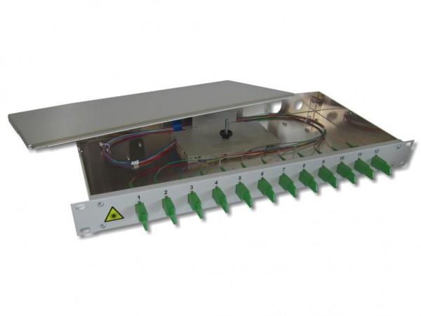 "19"" LWL Spleißbox 1HE 12 LSH/APC 9/125µm OS2 komplett spleißfertig mit Kupplungen und Pigtails bestückt"