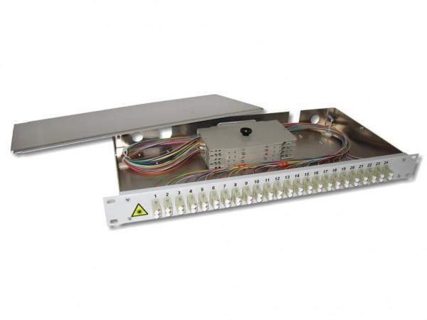 """19"""" LWL Spleißbox 1HE 24xLC-duplex 50/125µm OM2 komplett spleißfertig mit Kupplungen und Pigtails bestückt"""