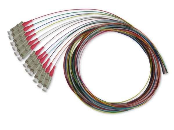 LC-Pigtail 50/125µm multimode OM4, 2m, 12 farbig