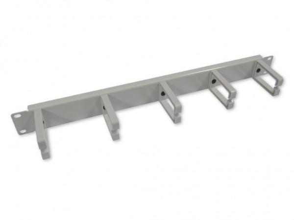 """19"""" Kabelführungspanel grau RAL7035 1HE, 5 Kunststoffbügel"""