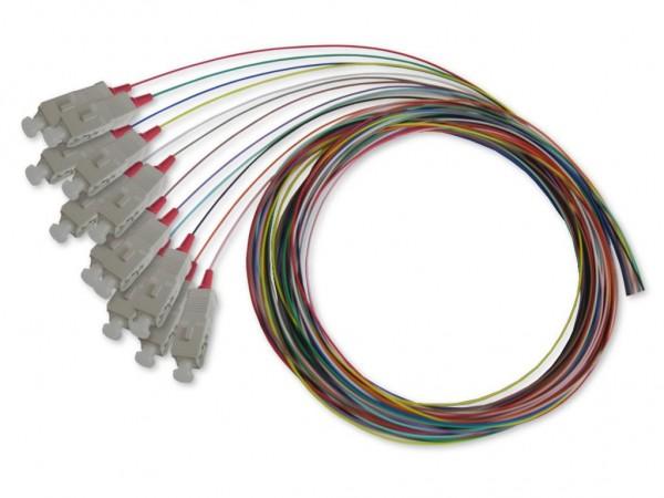 SC-Pigtail multimode 50/125µm OM4, 2m, 12 farbig