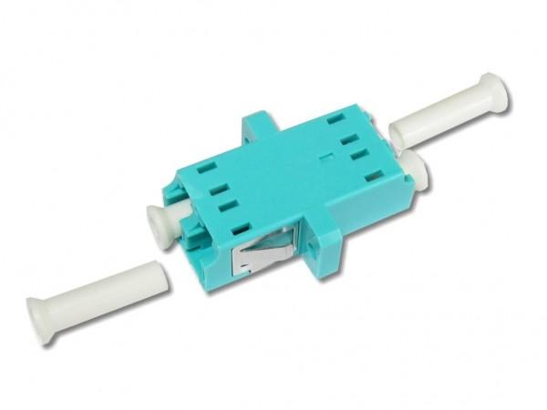 LC duplex LWL Kupplung multimode OM3, aqua