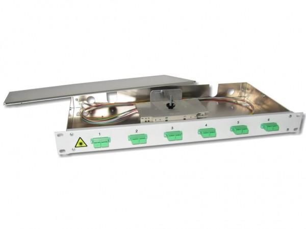 """19"""" LWL Spleißbox 1HE 6xSC/APC-duplex 9/125µm OS2 komplett spleißfertig mit Kupplungen und Pigtails bestückt"""