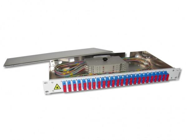 """19"""" LWL Spleißbox 1HE 24xSC-duplex 9/125µm OS2 komplett spleißfertig mit Kupplungen und Pigtails bestückt"""