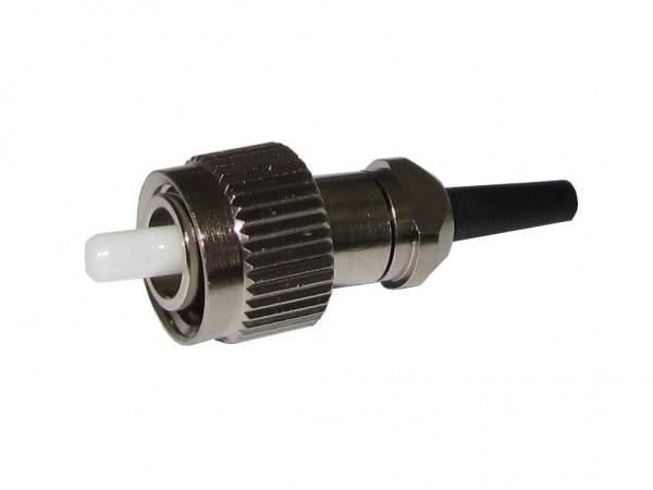 FC/PC simplex LWL Stecker singlemode für 0,9mm Ader mit schwarzem Knickschutz