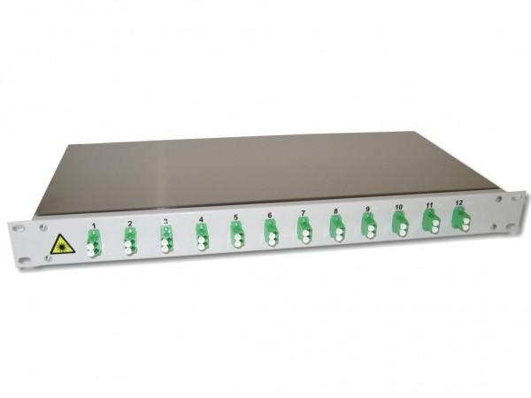 "19"" LWL Spleißbox 1HE mit 12 LC/APC duplex singlemode Kupplungen grün bestückt"