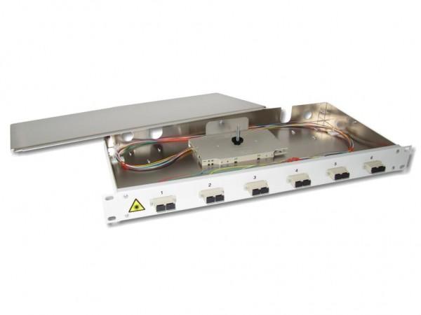 """19"""" LWL Spleißbox 1HE 6xSC-duplex 62,5/125µm komplett spleißfertig mit Kupplungen und Pigtails bestückt"""