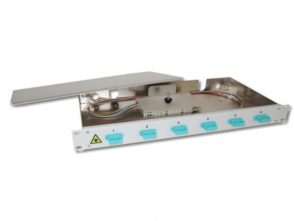 """19"""" LWL Spleißbox 1HE 6xSC-duplex 50/125µm OM3 komplett spleißfertig mit Kupplungen und Pigtails bestückt"""