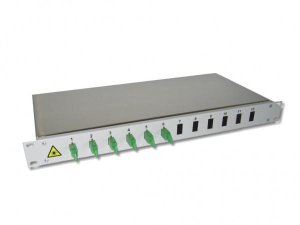 "19"" LWL Spleißbox 1HE mit 6 LSH/APC simplex singlemode Kupplungen grün bestückt"