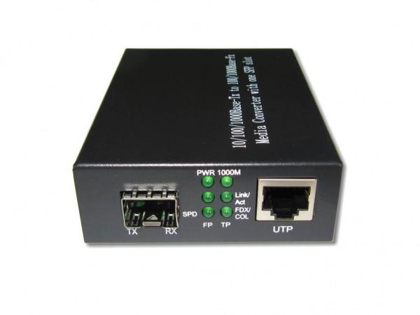 LWL Medien Konverter 10/100/1000BaseTX zu SFP 100/1000Base-FX ohne SFP Modul