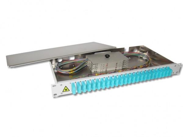 """19"""" LWL Spleißbox 1HE 24xSC-duplex 50/125µm OM3 komplett spleißfertig mit Kupplungen und Pigtails bestückt"""