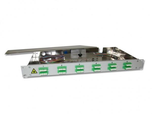 "19"" LWL Spleißbox 1HE 12x LC/APC quad 9/125µm OS2 komplett spleißfertig mit Kupplungen und Pigtails bestückt"