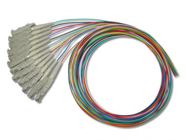 LSH/PC-Pigtail multimode 50/125µm OM3, 2m - 12-farbiges Set