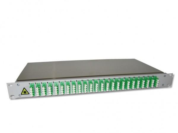 "19"" LWL Spleißbox 1HE mit 24 LC/APC quad singlemode Kupplungen grün bestückt"