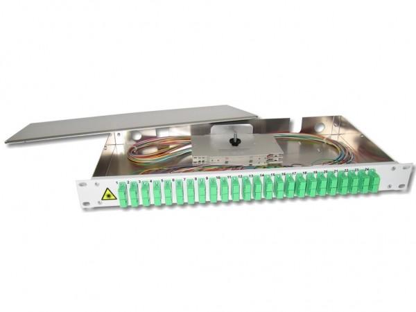 """19"""" LWL Spleißbox 1HE 24 SC/APC-duplex 9/125µm OS2 komplett spleißfertig mit Kupplungen und Pigtails bestückt"""