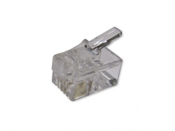 RJ10 Stecker für Flachkabel 4/4 - 100er Pack