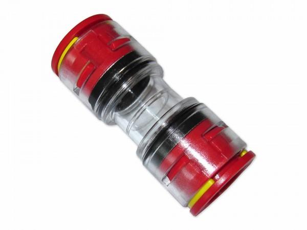 20mm Mikrorohrverbinder Doppelsteckmuffe innen 16mm mit Clips