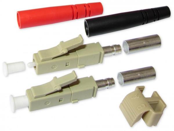 LC duplex Stecker multimode beige für 3mm Kabel mit rot/schwarzem Knickschutz