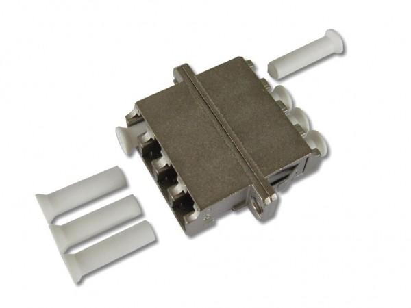 LC quad (4-fach) LWL Kupplung multimode / singlemode Metallgehäuse