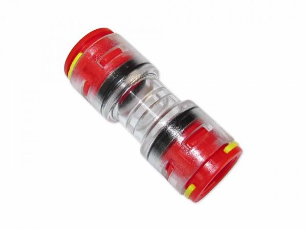 12mm Mikrorohrverbinder Doppelsteckmuffe innen 8mm mit Clips