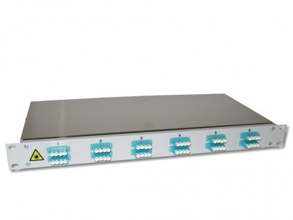 "19"" LWL Spleißbox 1HE mit 12 LC quad multimode Kupplungen aqua OM3 bestückt"