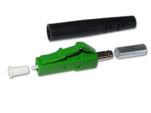 LC/APC simplex Stecker singlemode grün für 3mm Kabel mit schwarzem Knickschutz