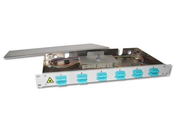 """19"""" LWL Spleißbox 1HE 12xSC-duplex 50/125µm OM3 komplett spleißfertig mit Kupplungen und Pigtails bestückt"""