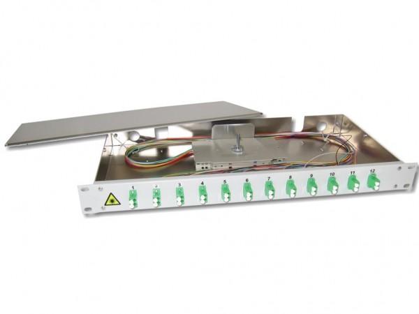 """19"""" LWL Spleißbox 1HE 12 x LC/APC-duplex 9/125µm OS2 komplett spleißfertig mit Kupplungen und Pigtails bestückt"""