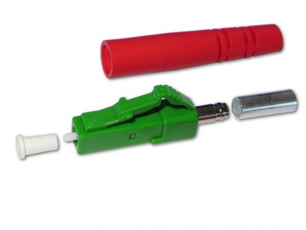 LC/APC simplex LWL Stecker singlemode grün für 3mm Kabel mit rotem Knickschutz