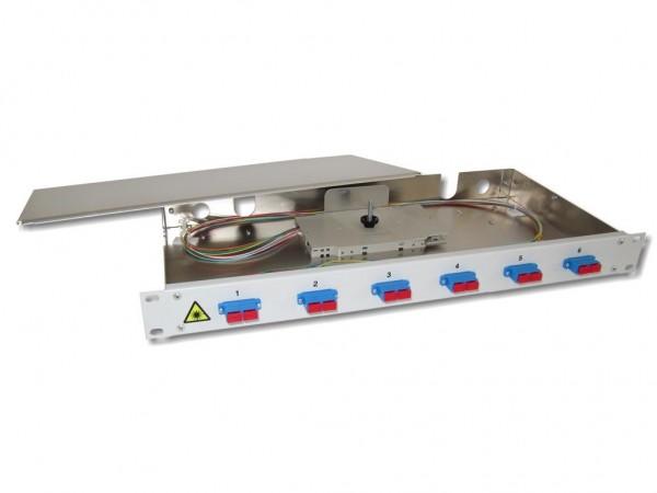"""19"""" LWL Spleißbox 1HE 6xSC-duplex 9/125µm OS2 komplett spleißfertig mit Kupplungen und Pigtails bestückt"""