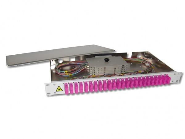 """19"""" LWL Spleißbox 1HE 24xSC-duplex 50/125µm OM4 komplett spleißfertig mit Kupplungen und Pigtails bestückt"""
